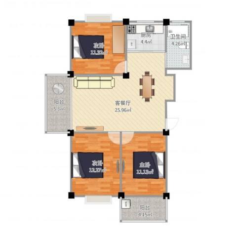 绿洲家园3号楼9123室1厅1卫1厨107.00㎡户型图