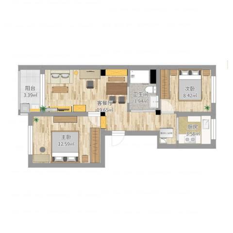 三里家园二区2室1厅1卫1厨77.00㎡户型图