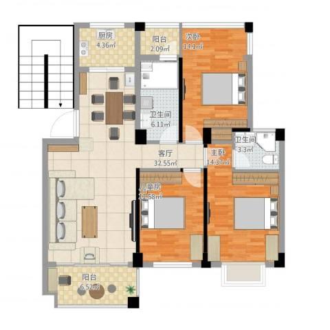万科北区3室1厅2卫1厨134.00㎡户型图