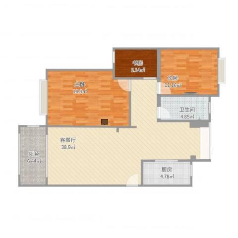 延吉东路1313室1厅1卫1厨123.00㎡户型图