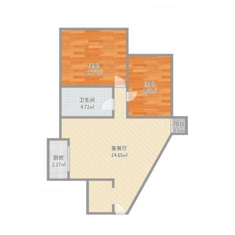 新中银花园2室1厅1卫1厨71.00㎡户型图