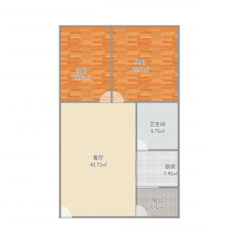 罗村花苑A区2室1厅1卫1厨146.00㎡户型图