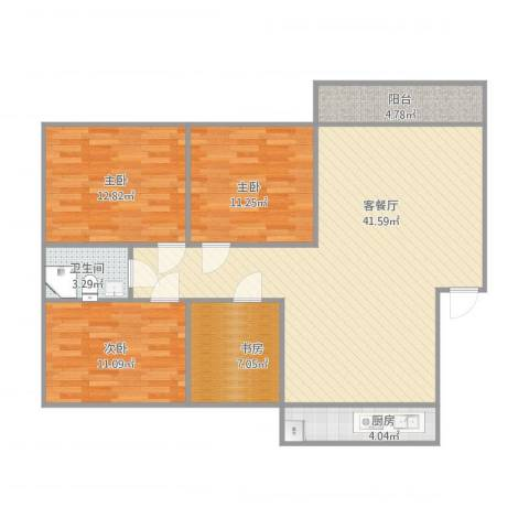 幸福柳小区3室1厅1卫1厨129.00㎡户型图