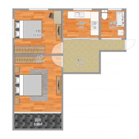 宝钢三村2室1厅1卫1厨59.00㎡户型图