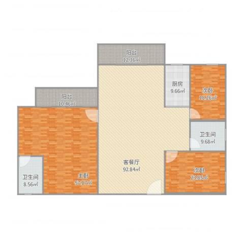 罗湖花园怡安苑c7093室1厅2卫1厨319.00㎡户型图