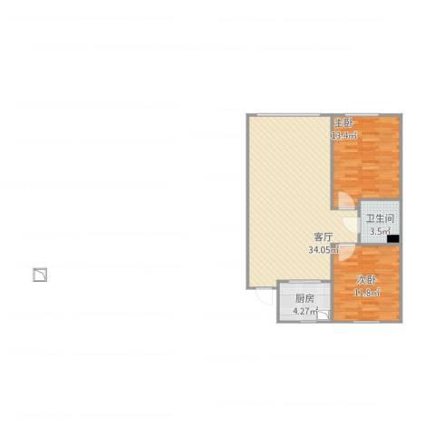 澳海澜庭180李女士2室1厅1卫1厨90.00㎡户型图
