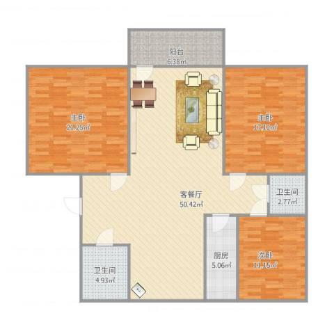 幸福柳小区3室1厅2卫1厨158.00㎡户型图