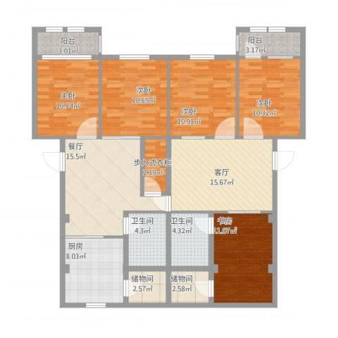 万兴凤凰花园5室2厅2卫1厨164.00㎡户型图