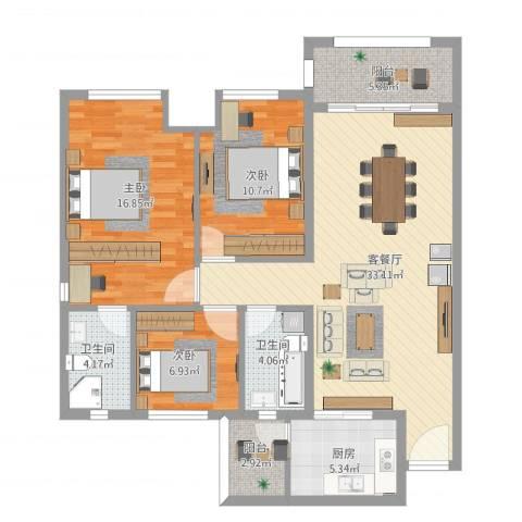东城四季27-6013室1厅2卫1厨127.00㎡户型图
