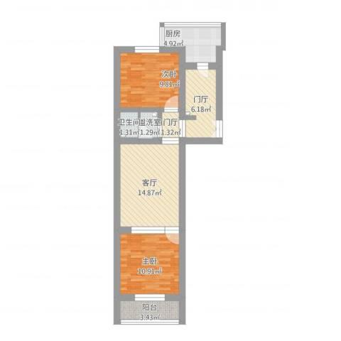 玉桥南里2室2厅1卫1厨87.00㎡户型图
