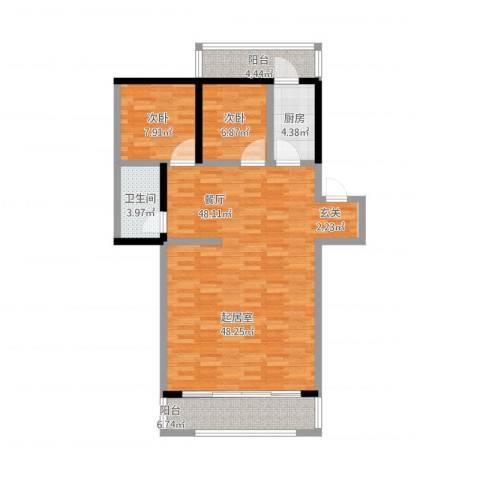 密西花园小区2室1厅1卫1厨118.00㎡户型图