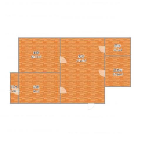 大龙港新村2室1厅1卫1厨444.00㎡户型图