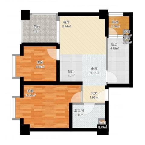 鸿阁一号2室1厅1卫1厨74.00㎡户型图