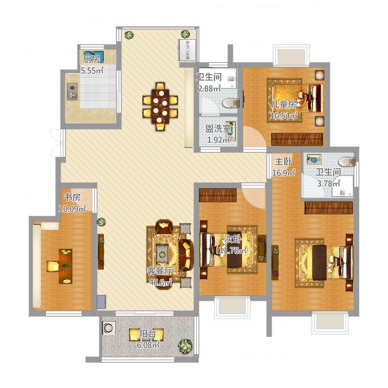 天弘御景136方D2户型四室两厅两位