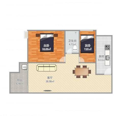 汇星豪庭2室1厅1卫1厨112.00㎡户型图