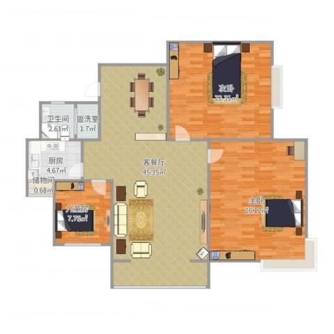 华林都市家园3室2厅1卫1厨148.00㎡户型图