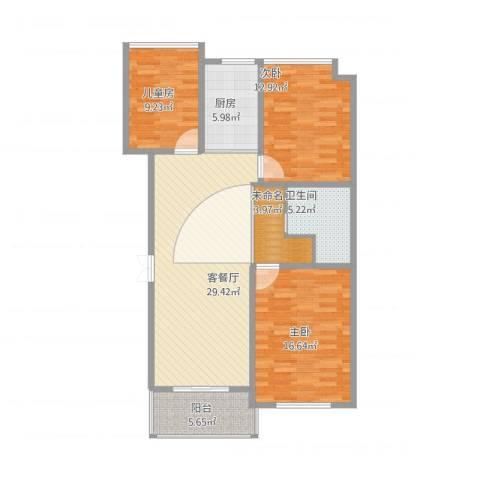 万家花园万和苑3室1厅2卫1厨124.00㎡户型图