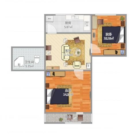 德州七村2室1厅1卫1厨70.00㎡户型图