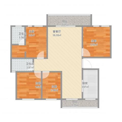 保亿・风景御园4室1厅2卫1厨66.00㎡户型图