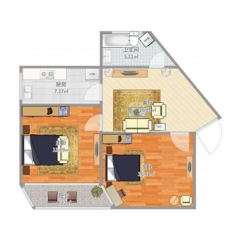 德州路246号2室1厅1卫1厨88.00㎡户型图