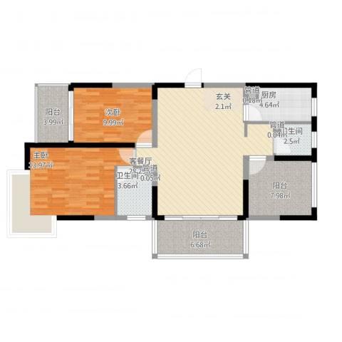 大唐世纪豪庭2室1厅2卫1厨118.00㎡户型图