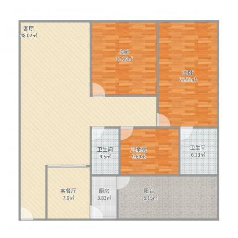 俊雅苑3室2厅2卫1厨179.00㎡户型图