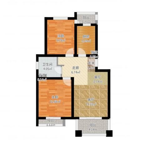 丰水宝邸2室1厅1卫1厨90.00㎡户型图