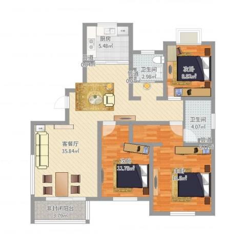山东东营锦绣龙轩3室1厅2卫1厨133.00㎡户型图