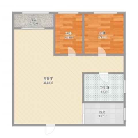 众益阳光海岸2室1厅1卫1厨63.00㎡户型图