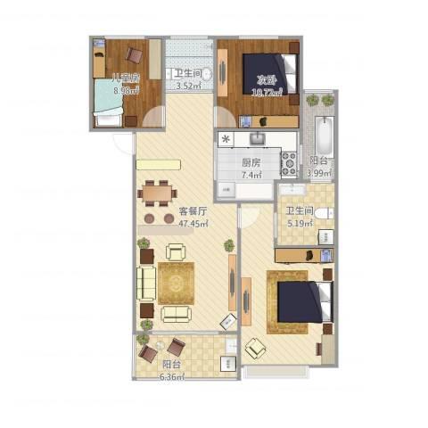 新世纪花苑2室1厅2卫1厨106.00㎡户型图