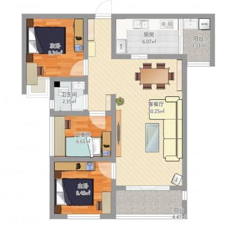 南山明珠_2016-01-25-21213室1厅1卫1厨94.00㎡户型图