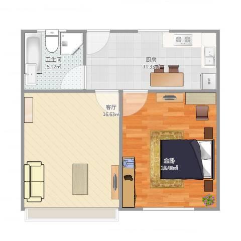 潍坊五村1室1厅1卫1厨66.00㎡户型图
