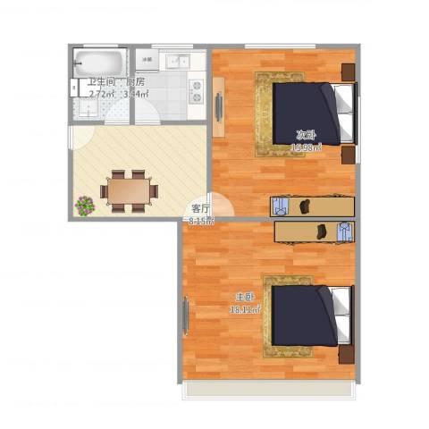 潍坊五村2室1厅1卫1厨65.00㎡户型图