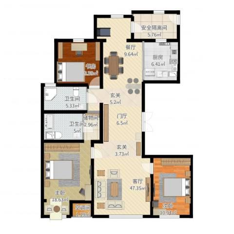 万正广场3室1厅2卫1厨125.00㎡户型图