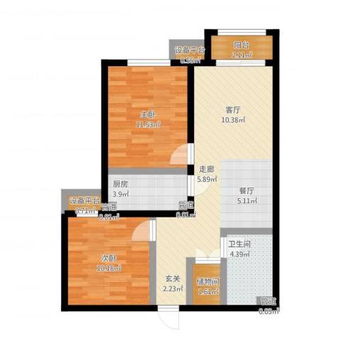 中国铁建・环保嘉苑2室1厅1卫1厨88.00㎡户型图