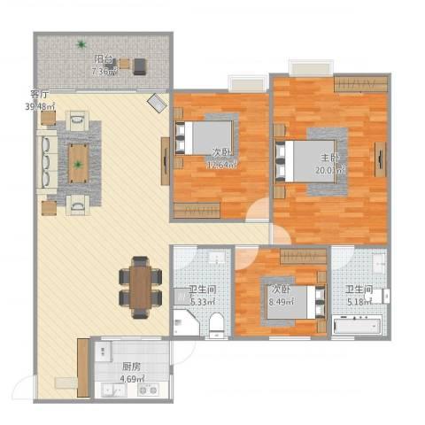 博罗祥兴花园3室1厅2卫1厨138.00㎡户型图