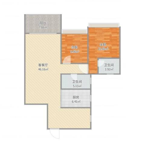 乐雅苑2室1厅2卫1厨124.00㎡户型图