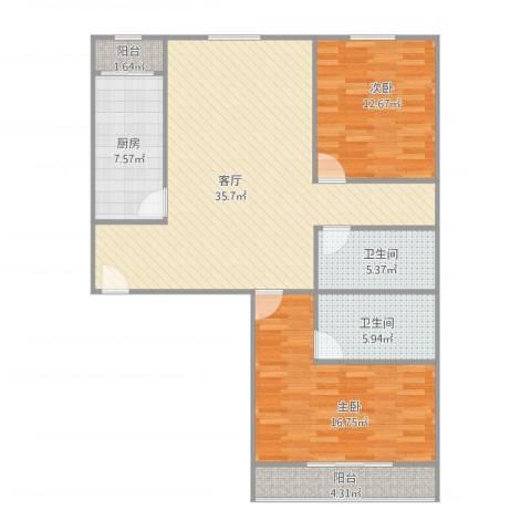 大兴区幸福家园-97M两居两卫2室1厅2卫1厨121.00㎡户型图