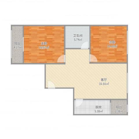 大兴区幸福家园-85M2室1厅1卫1厨106.00㎡户型图