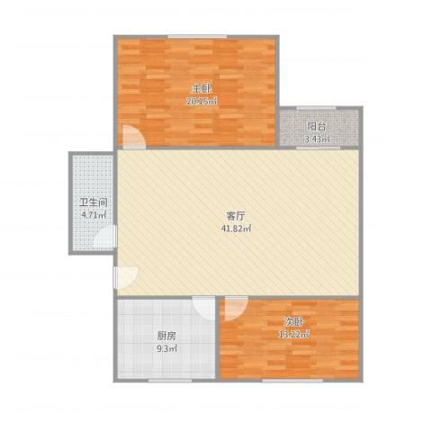 大兴区幸福家园2室1厅1卫1厨123.00㎡户型图