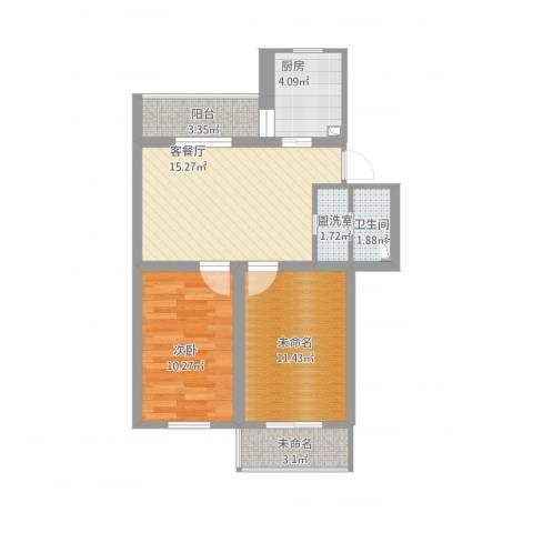 马连洼竹园1室2厅1卫1厨76.00㎡户型图