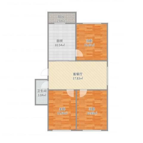 宏发三千院3室1厅1卫1厨95.00㎡户型图