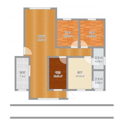 东岭桂园3室1厅2卫1厨161.00㎡户型图