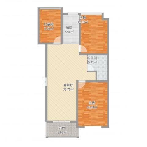万家花园万和苑3室1厅1卫1厨124.00㎡户型图