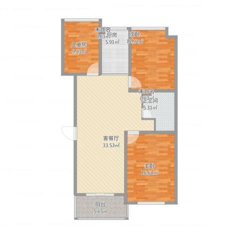 万家花园万和苑3室1厅2卫2厨124.00㎡户型图