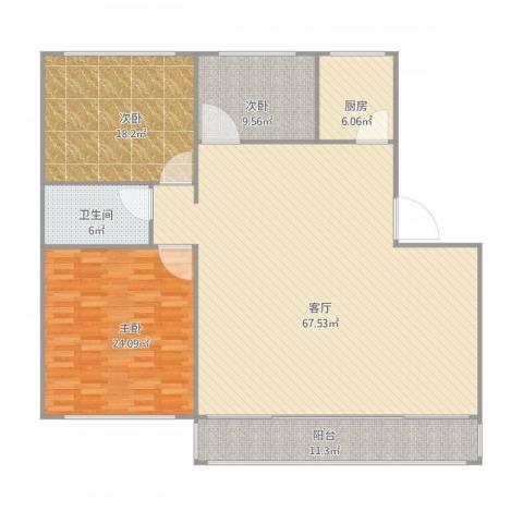 中华名城3室1厅1卫1厨188.00㎡户型图