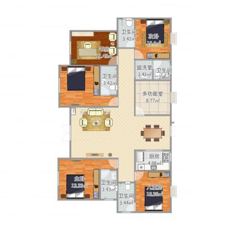 包家巷123号院5室2厅5卫1厨181.00㎡户型图