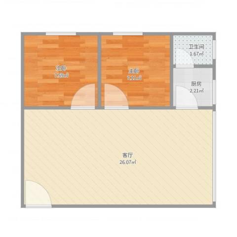 东苑小区2室1厅1卫1厨60.00㎡户型图