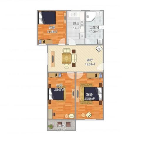 金桥四街坊3室1厅1卫1厨105.00㎡户型图