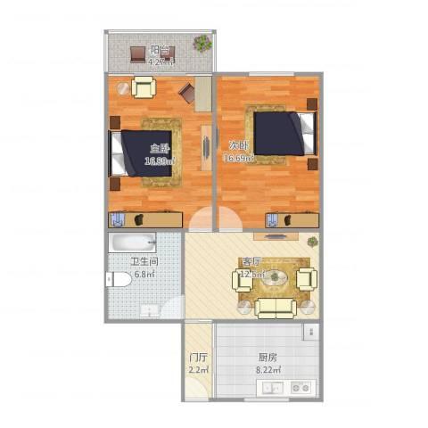 科苑新村2室1厅1卫1厨91.00㎡户型图